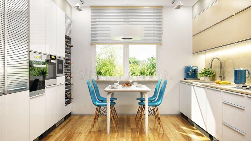 Σύγχρονο άσπρο εσωτερικό σχέδιο κουζινών στοκ φωτογραφίες