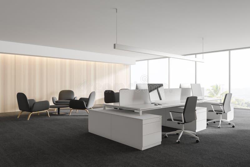 Σύγχρονο άσπρο κενό εσωτερικό γραφείων με τους υπολογιστές και τα έπιπλα διαστήματος εργασίας τρισδιάστατος δώστε ελεύθερη απεικόνιση δικαιώματος