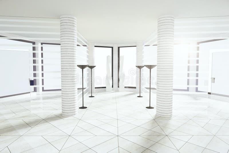 Σύγχρονο άσπρο κενό δωμάτιο με τους στυλοβάτες και τα μεγάλα παράθυρα ελεύθερη απεικόνιση δικαιώματος