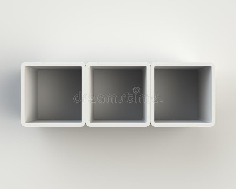 Σύγχρονο άσπρο ράφι βιβλίων στον τοίχο απεικόνιση αποθεμάτων