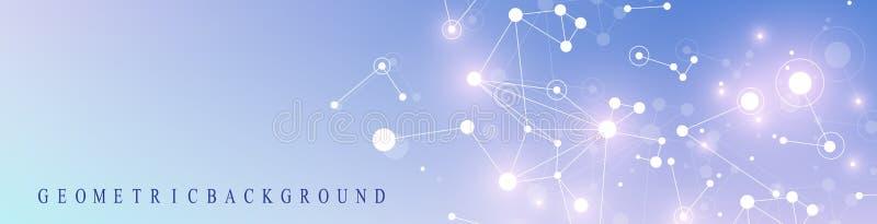 Σύγχρονο έμβλημα τεχνολογίας Γεωμετρική αφηρημένη παρουσίαση διάνυσμα περιοχών επικοινωνίας ανασκόπησής σας Πλέγμα και σημεία γρα απεικόνιση αποθεμάτων