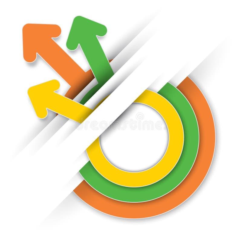 Σύγχρονο έμβλημα επιχειρησιακών επιλογών, πληροφορία-γραφική παράσταση ετικετών κύκλων διανυσματική απεικόνιση