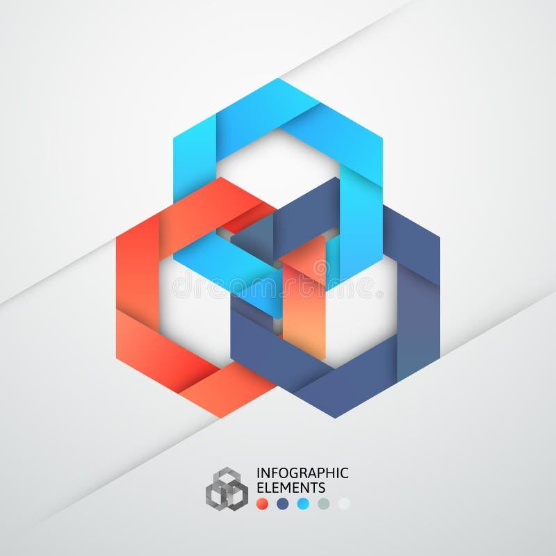 Σύγχρονο έμβλημα επιλογών ύφους origami επιχειρησιακών βημάτων διανυσματική απεικόνιση