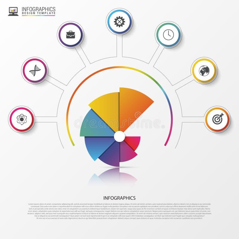 Σύγχρονο έμβλημα επιλογών infographics Σπειροειδές διάγραμμα πιτών διάνυσμα απεικόνιση αποθεμάτων