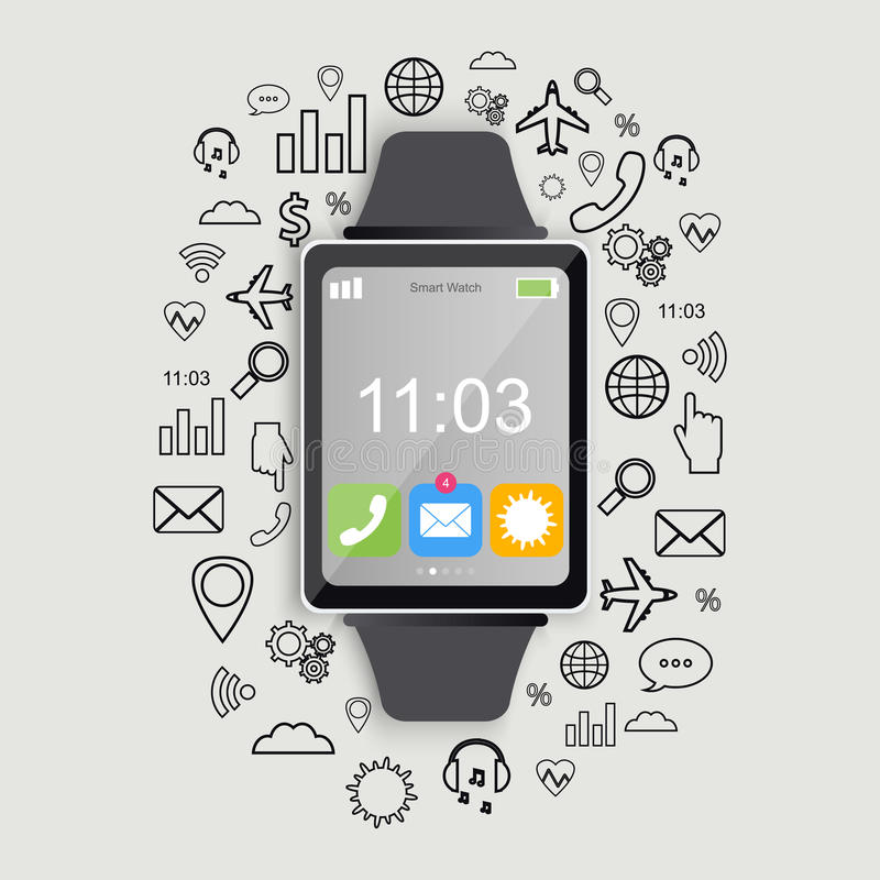 Σύγχρονο έξυπνο ρολόι με app τα εικονίδια Σύγχρονο επίπεδο σχέδιο Καθιερώνον τη μόδα smartwatch διάνυσμα απεικόνιση αποθεμάτων