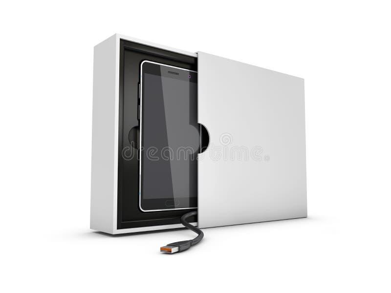 Σύγχρονο έξυπνο τηλέφωνο στο κιβώτιο με το καλώδιο USB Μαύρη οθόνη για το πρότυπο, απομονωμένο λευκό τρισδιάστατη απεικόνιση ελεύθερη απεικόνιση δικαιώματος