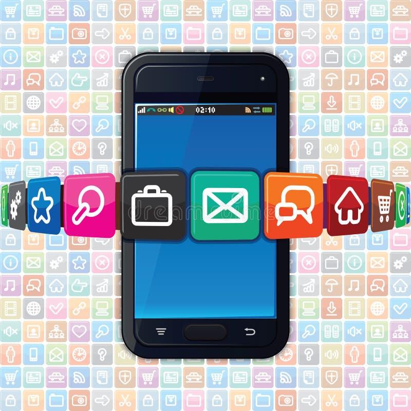 Smartphone με τα εικονίδια Διαδικτύου. Διάνυσμα τεχνολογίας ελεύθερη απεικόνιση δικαιώματος