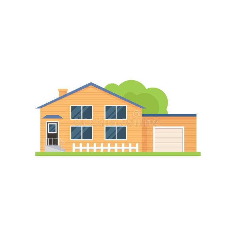 Σύγχρονο αμερικανικό ξύλινο σπίτι με το άσπρους γκαράζ και το φράκτη διανυσματική απεικόνιση