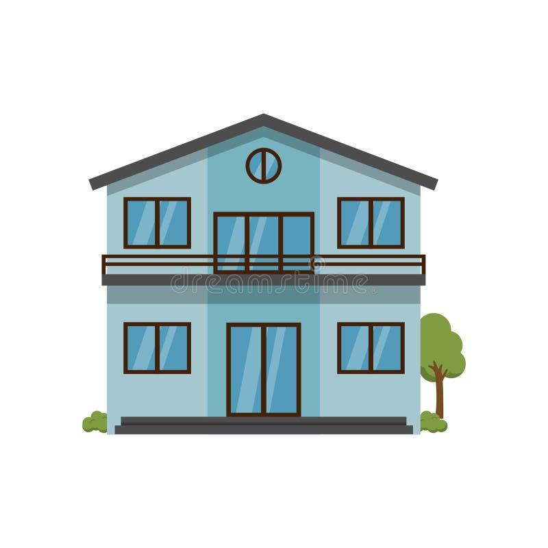 Σύγχρονο ανοικτό μπλε σπίτι δύο-ιστορίας με το δεύτερο όροφο γουρνών μπαλκονιών που απομονώνεται στο άσπρο υπόβαθρο ελεύθερη απεικόνιση δικαιώματος