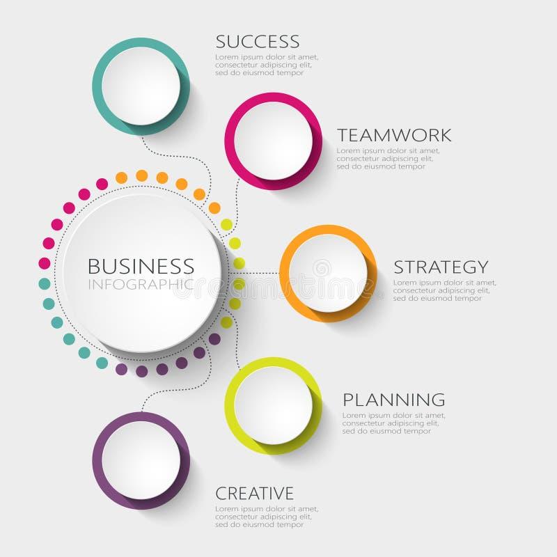 Σύγχρονο αφηρημένο τρισδιάστατο infographic πρότυπο με πέντε βήματα για την επιτυχία Πρότυπο επιχειρησιακών κύκλων με τις επιλογέ διανυσματική απεικόνιση