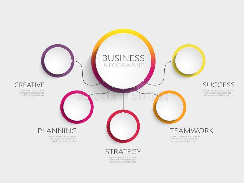Σύγχρονο αφηρημένο τρισδιάστατο infographic πρότυπο με πέντε βήματα για την επιτυχία διανυσματική απεικόνιση