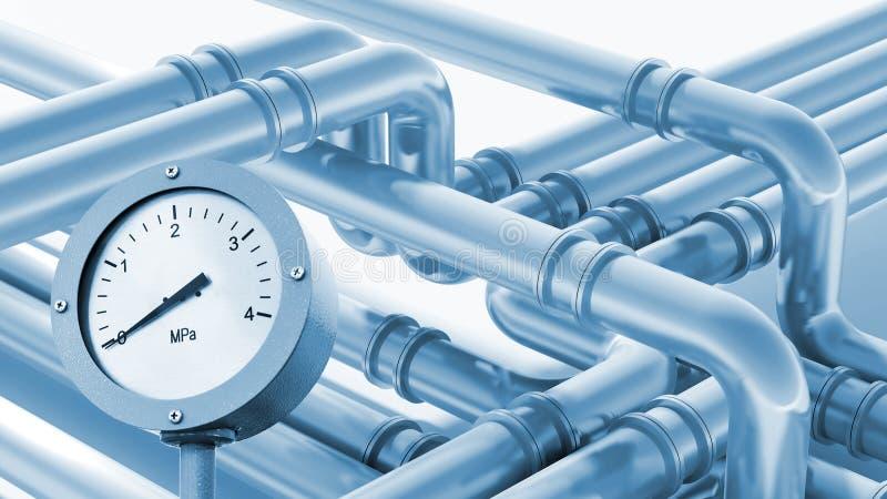 Σύγχρονο βιομηχανικό τεμάχιο σωληνώσεων μετάλλων με το μανόμετρο ελεύθερη απεικόνιση δικαιώματος