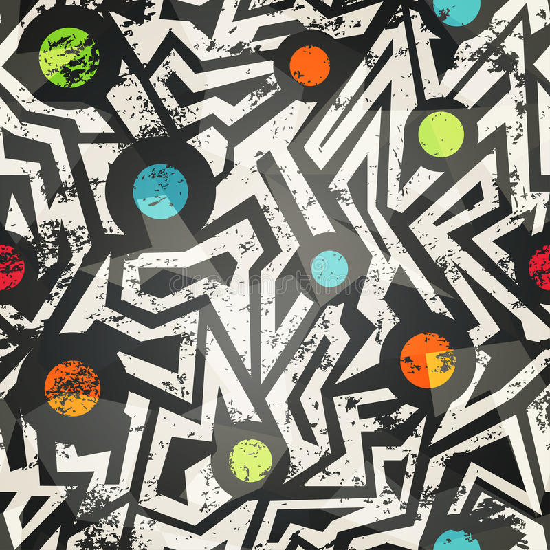 Σύγχρονο γεωμετρικό άνευ ραφής σχέδιο με την επίδραση grunge ελεύθερη απεικόνιση δικαιώματος
