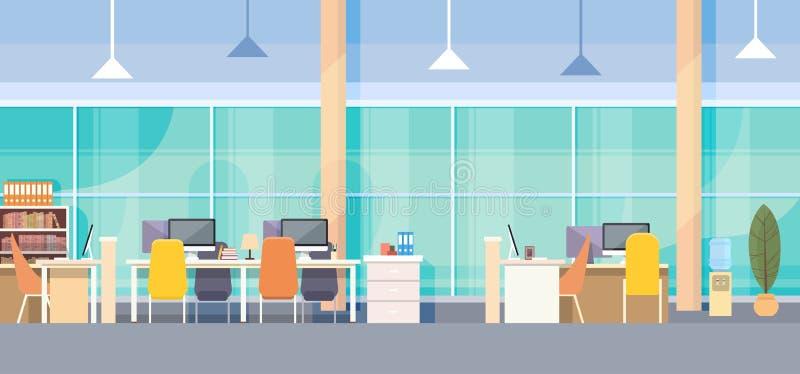 Σύγχρονο γραφείο εργασιακών χώρων γραφείων εσωτερικό ελεύθερη απεικόνιση δικαιώματος
