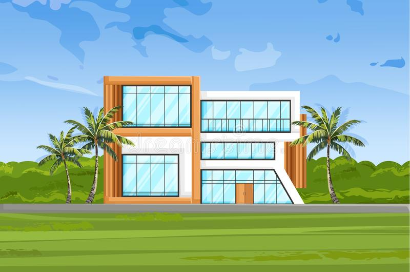 Σύγχρονο διάνυσμα μπροστινής άποψης σπιτιών Υπόβαθρα θερινής φύσης προσόψεων αρχιτεκτονικής διανυσματική απεικόνιση