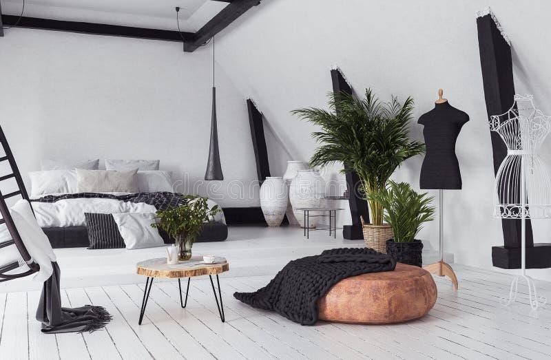 Σύγχρονο διαμέρισμα ανοικτός-σχεδίων στη σοφίτα, ύφος σοφιτών απεικόνιση αποθεμάτων