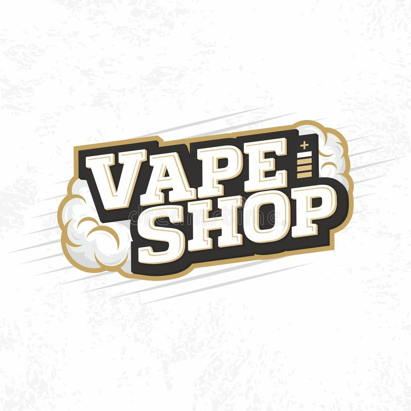 Σύγχρονο διανυσματικό επαγγελματικό κατάστημα εμβλημάτων λογότυπων vape απεικόνιση αποθεμάτων