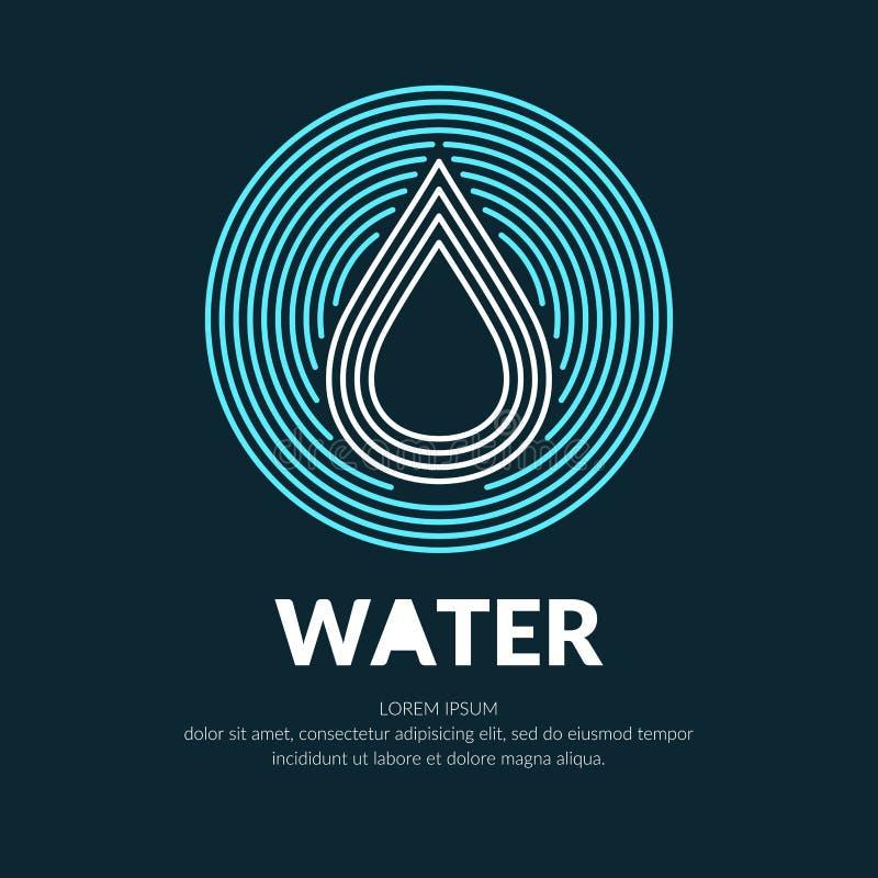 Σύγχρονο διανυσματικό λογότυπο γραμμών της πτώσης νερού ελεύθερη απεικόνιση δικαιώματος