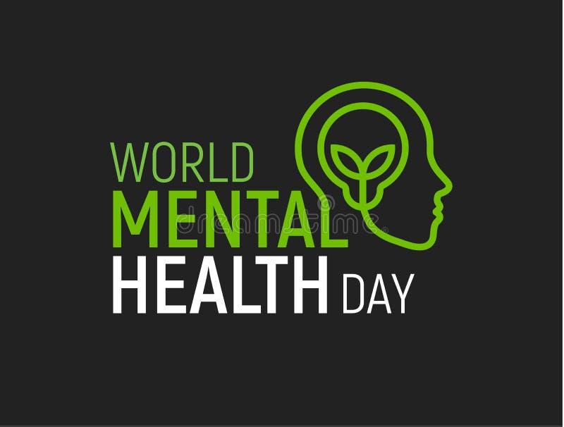 Σύγχρονο διανυσματικό λογότυπο πνευματικών υγειών Ημέρα παγκόσμιας υγείας, επίπεδο ανθρώπινο επικεφαλής εικονίδιο με το λαμπτήρα  ελεύθερη απεικόνιση δικαιώματος