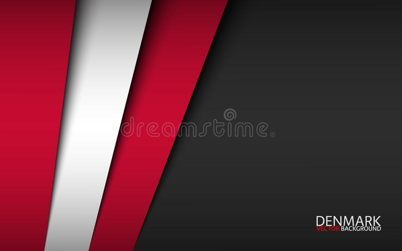 Σύγχρονο διανυσματικό φόντο με δανικά χρώματα και γκρίζο ελεύθερο χώρο για το κείμενό σας, επικαλυπτόμενα φύλλα χαρτιού ελεύθερη απεικόνιση δικαιώματος