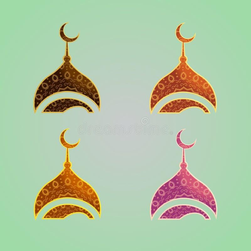 Σχέδιο λογότυπων μουσουλμανικών τεμενών Σύγχρονο εικονίδιο μουσουλμανικών τεμενών ύφους για την επιχείρηση, την εταιρία και το όρ διανυσματική απεικόνιση