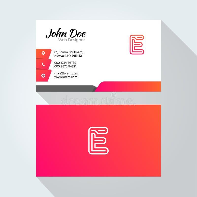 Σύγχρονο ελάχιστο αφηρημένο πρότυπο σχεδίου επαγγελματικών καρτών αλφάβητου επιστολών Ε απεικόνιση αποθεμάτων