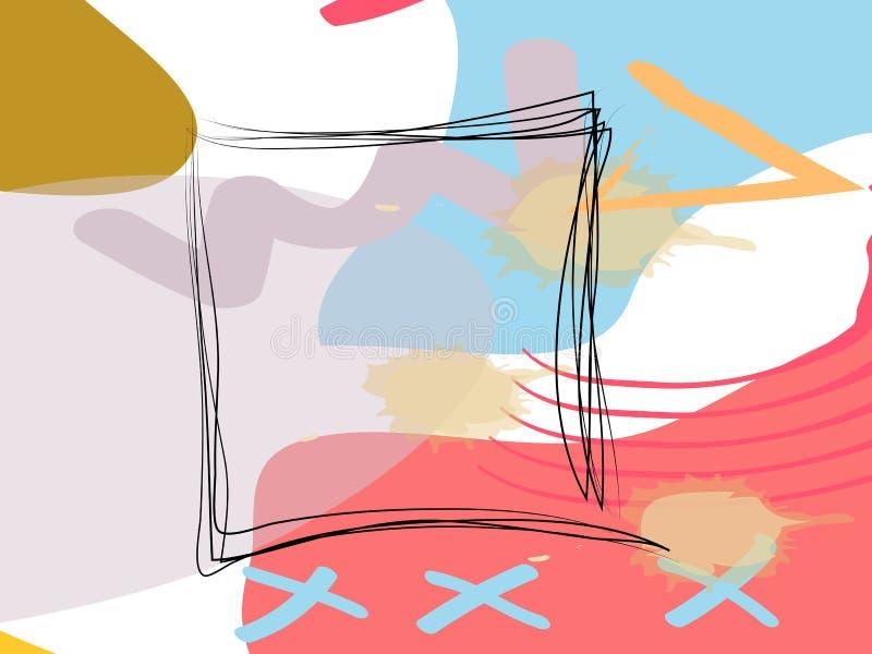 Σύγχρονο ελάχιστο τετραγωνικό πρότυπο μορφής της Μέμφιδας στο ρόδινο, μπλε, τυρκουάζ, γραπτό χρώμα ελεύθερη απεικόνιση δικαιώματος