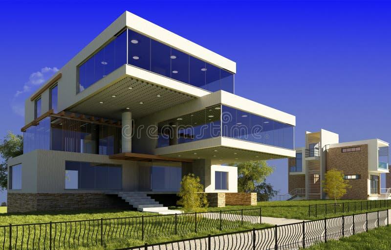 Σύγχρονο εξοχικό σπίτι απεικόνιση αποθεμάτων