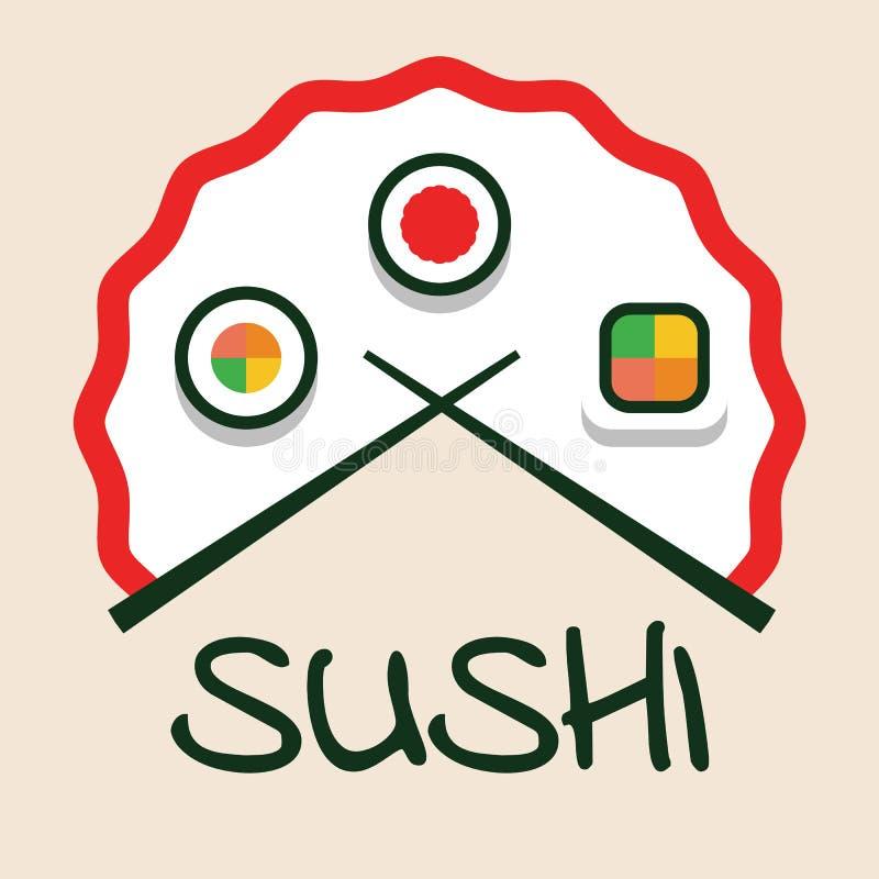 Σύγχρονο επίπεδο λογότυπο για τα σούσια, το σύνολο, το ρόλο, τα ιαπωνικά και ασιατικά τρόφιμα, φραγμός σουσιών, εστιατόριο απεικόνιση αποθεμάτων