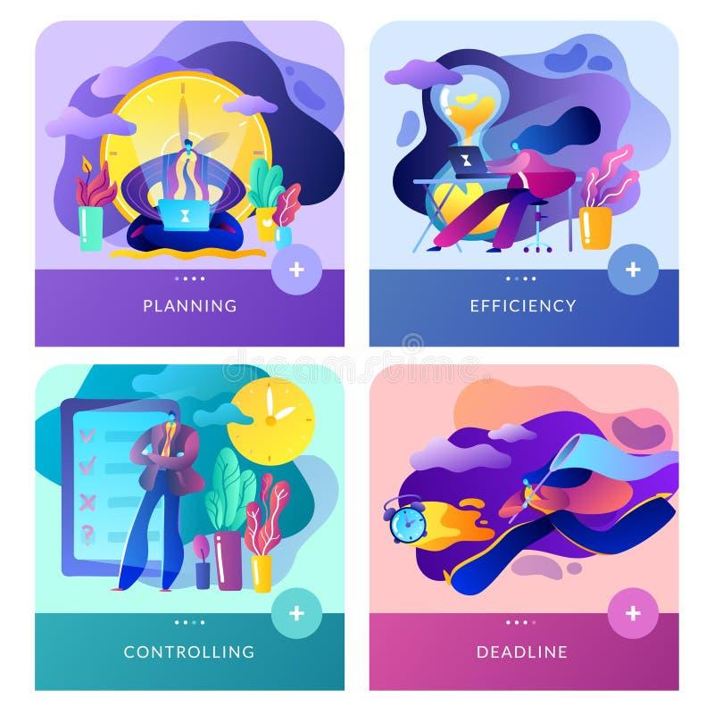 Σύγχρονο επίπεδο στη χρονικές διαχείριση, τη οικονομική διαχείριση και την επιχείρηση, στα φωτεινά, μοντέρνα χρώματα απεικόνιση αποθεμάτων