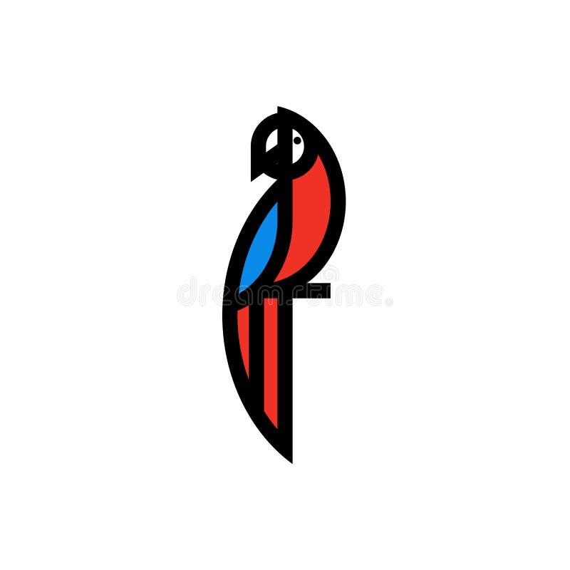 Σύγχρονο επίπεδο εικονίδιο γραμμών ή πρότυπο λογότυπων του παπαγάλου macaw απεικόνιση αποθεμάτων