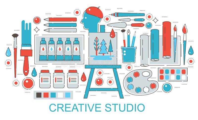 Σύγχρονο επίπεδο λεπτό σχέδιο γραμμών δημιουργικό ή έννοια στούντιο Ιστού τέχνης ζωγράφων διανυσματική απεικόνιση