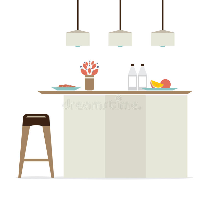 Σύγχρονο επίπεδο εσωτερικό κουζινών σχεδίου διανυσματική απεικόνιση