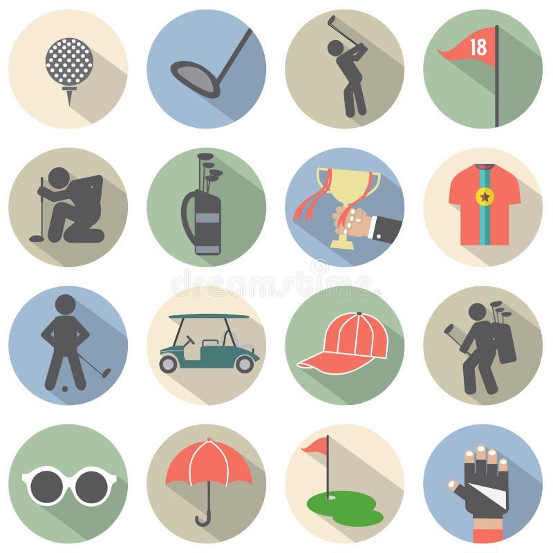 Σύγχρονο επίπεδο σύνολο εικονιδίων γκολφ σχεδίου ελεύθερη απεικόνιση δικαιώματος