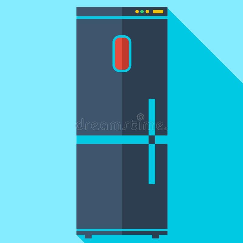Σύγχρονο επίπεδο ψυγείο εικονιδίων έννοιας σχεδίου απεικόνιση αποθεμάτων