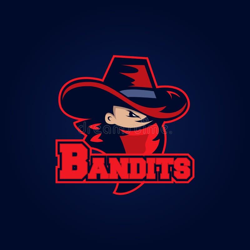Σύγχρονο επαγγελματικό λογότυπο για την αθλητική ομάδα Μασκότ ληστών Ληστές, διανυσματικό σύμβολο σε ένα σκοτεινό υπόβαθρο απεικόνιση αποθεμάτων