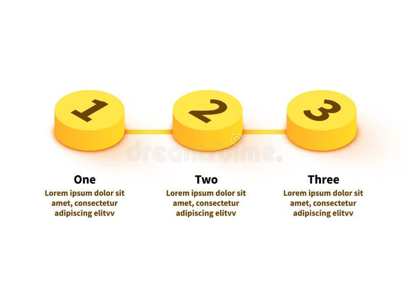 Σύγχρονο επιχειρησιακό πρότυπο με το infographics 3 βημάτων r απεικόνιση αποθεμάτων