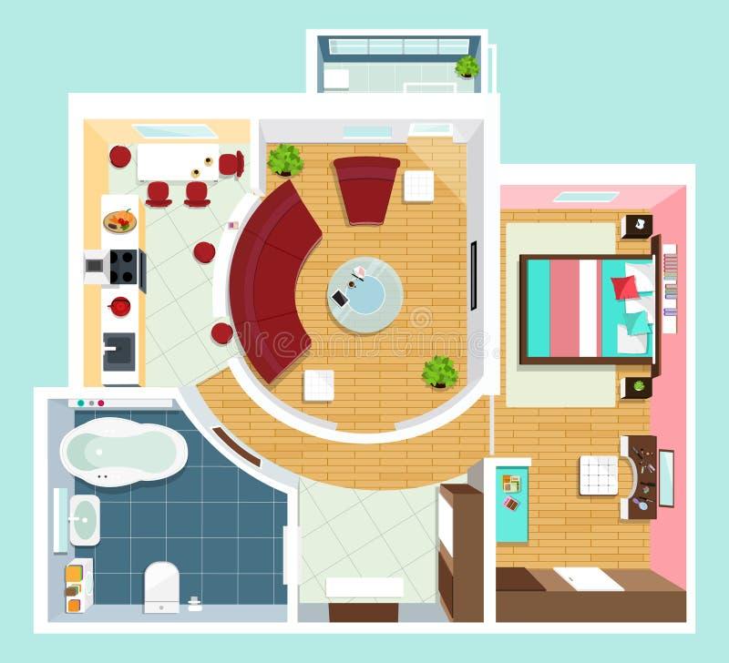 Σύγχρονο λεπτομερές σχέδιο ορόφων για το διαμέρισμα με τα έπιπλα Τοπ άποψη του διαμερίσματος Διανυσματική επίπεδη προβολή διανυσματική απεικόνιση