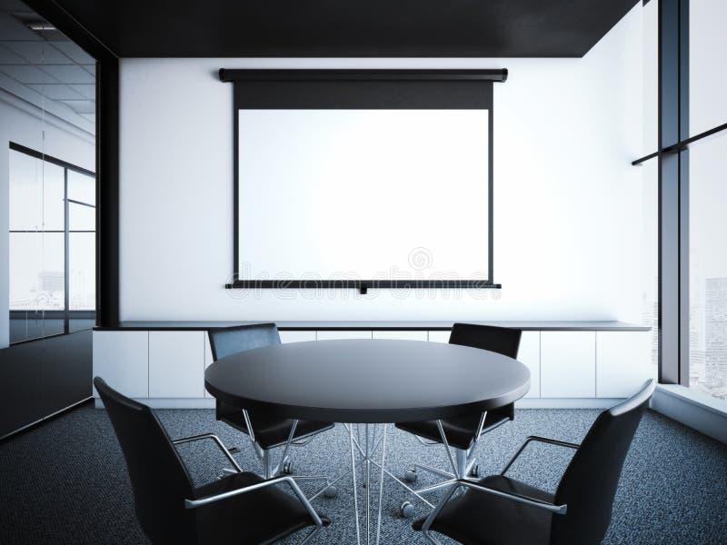 Σύγχρονο εσωτερικό γραφείων με την οθόνη προβολέων τρισδιάστατη απόδοση ελεύθερη απεικόνιση δικαιώματος