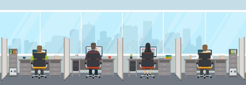 Σύγχρονο εσωτερικό γραφείων με τους υπαλλήλους ελεύθερη απεικόνιση δικαιώματος