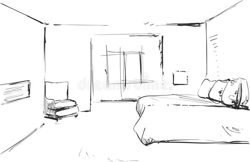 Σύγχρονο εσωτερικό διανυσματικό σχέδιο κρεβατοκάμαρων που απομονώνεται στο άσπρο υπόβαθρο διανυσματική απεικόνιση