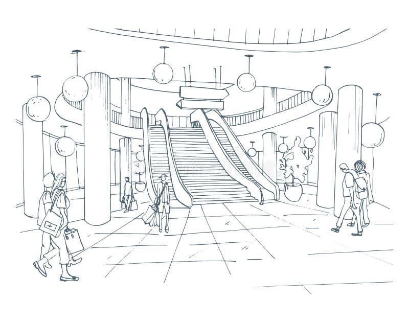 Σύγχρονο εσωτερικό εμπορικό κέντρο, λεωφόρος Απεικόνιση σκίτσων περιγράμματος διανυσματική απεικόνιση