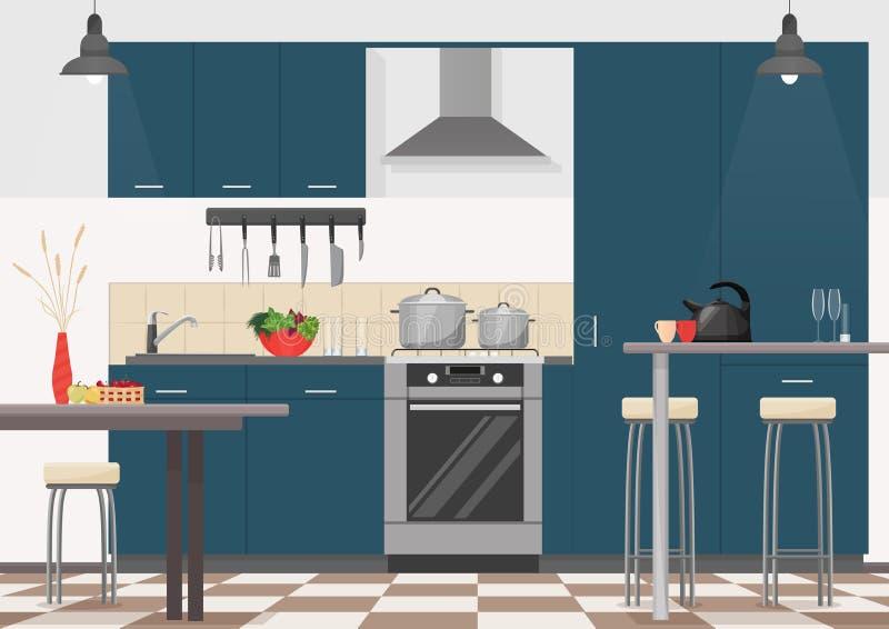 Σύγχρονο εσωτερικό κουζινών με τα έπιπλα και τις μαγειρεύοντας συσκευές Ρεαλιστικό επίπεδο σχέδιο κινούμενων σχεδίων της κουζίνας ελεύθερη απεικόνιση δικαιώματος