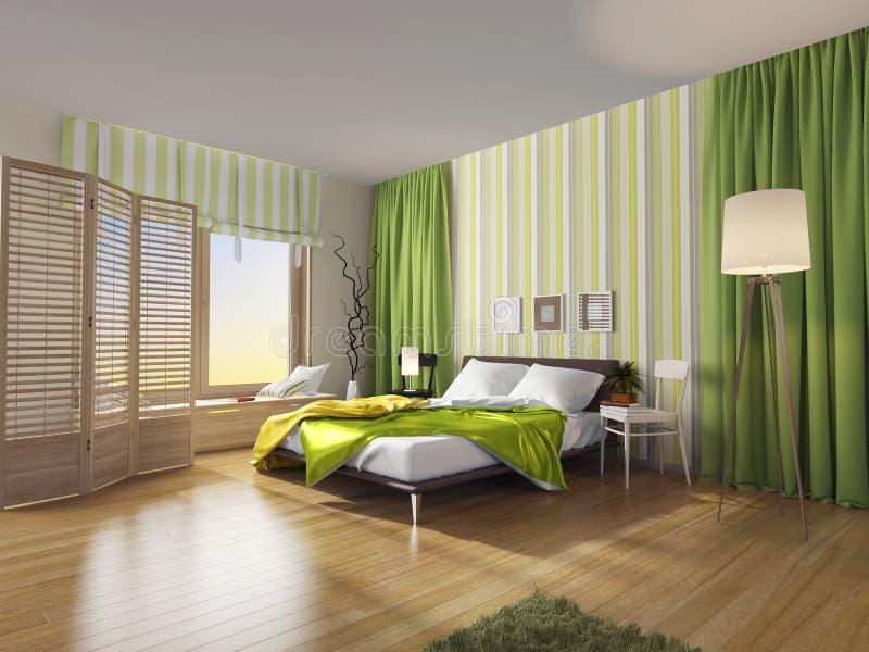 Σύγχρονο εσωτερικό κρεβατοκάμαρων με την πράσινη κουρτίνα ελεύθερη απεικόνιση δικαιώματος
