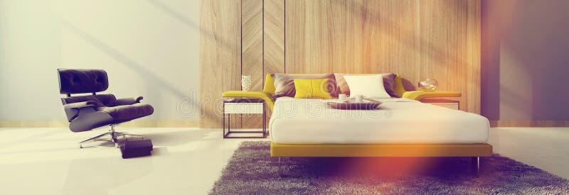 Σύγχρονο εσωτερικό κρεβατοκάμαρων που λούζεται στο θερμό φως του ήλιου ελεύθερη απεικόνιση δικαιώματος