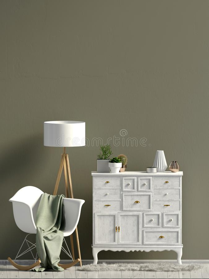 Σύγχρονο εσωτερικό με το κομμό χλεύη τοίχων επάνω διανυσματική απεικόνιση