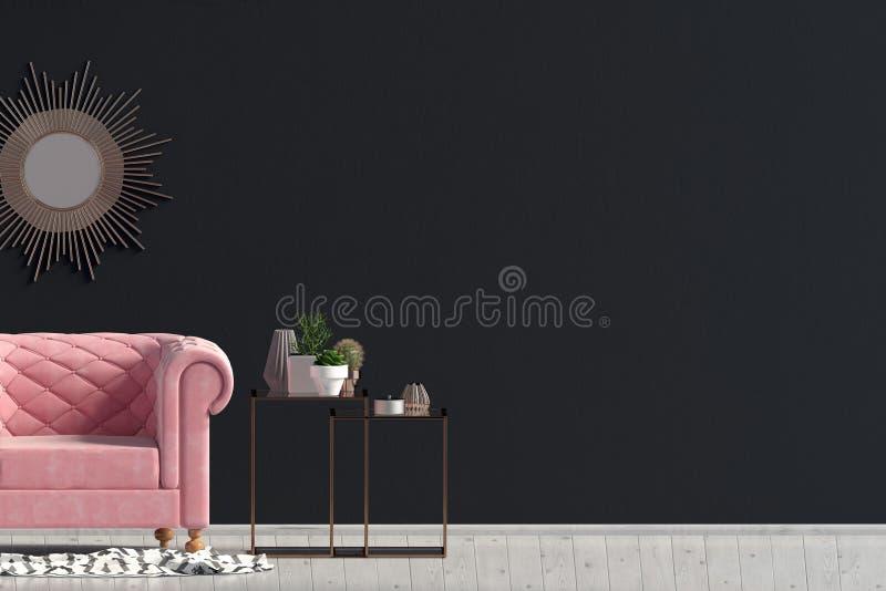 Σύγχρονο εσωτερικό με το τραπεζάκι σαλονιού και την καρέκλα ελεύθερη απεικόνιση δικαιώματος