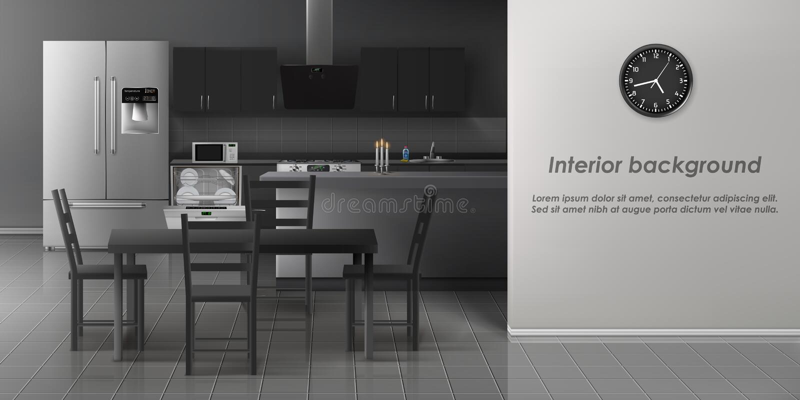 Σύγχρονο εσωτερικό ρεαλιστικό διανυσματικό πρότυπο κουζινών ελεύθερη απεικόνιση δικαιώματος