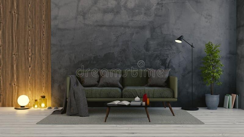 Σύγχρονο εσωτερικό σοφιτών του καθιστικού, του σκούρο πράσινο καναπέ στο άσπρο δάπεδο και του σκοτεινού συμπαγούς τοίχου κενό δωμ απεικόνιση αποθεμάτων