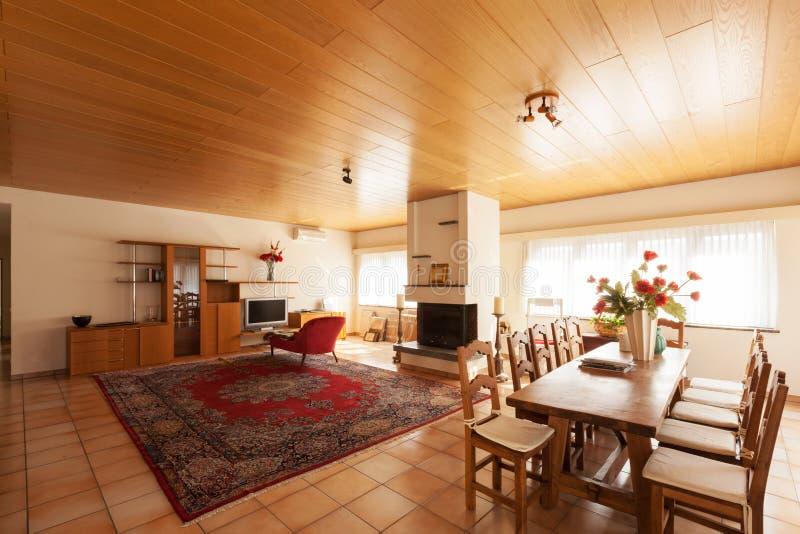 Σύγχρονο εσωτερικό σπιτιών, καθιστικό στοκ εικόνες